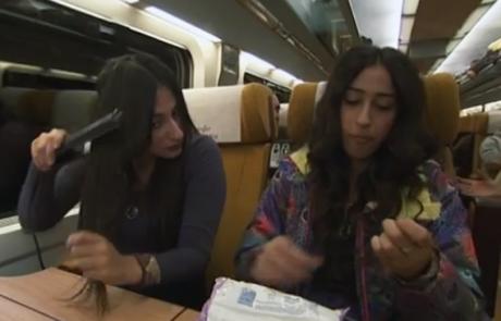 חיים שלי: מעיין ובתאל מ'המירוץ למיליון' עושות שפם ברכבת